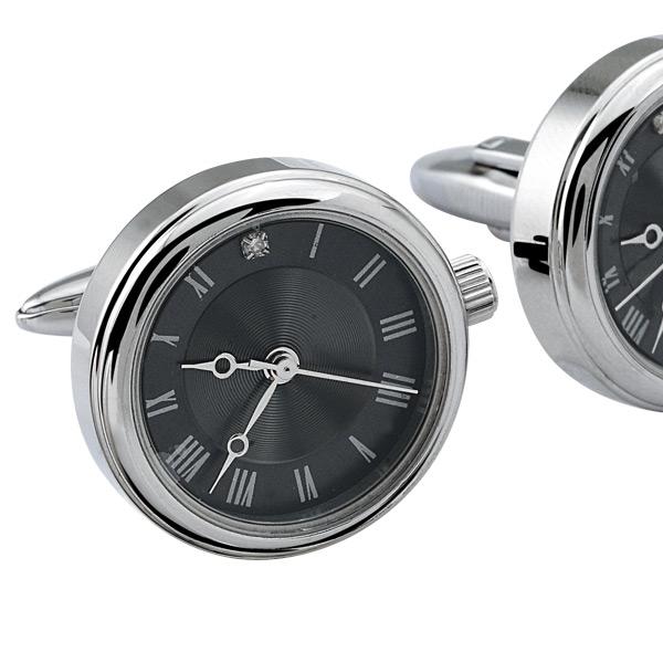 0.03 Karat Pırlantalı Saat Çelik Kol Düğmesi