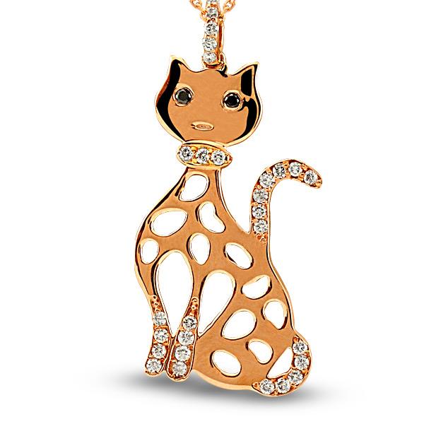 0.14 Karat Kedi Pırlanta Kolye