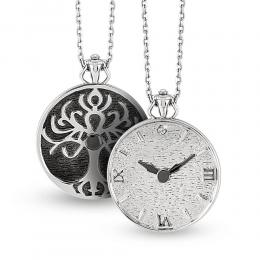 Pırlantalı Gümüş Hayat Ağacı Saat Kolye
