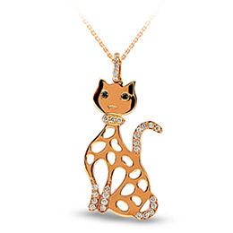 Kedi Pırlanta Kolye