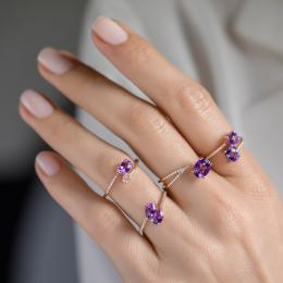 Pırlantalı Renkli Taşlı Yüzük- yüzük parmağında alttaki
